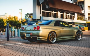 Wallpaper Nissan, GT-R, gold, skyline, R34