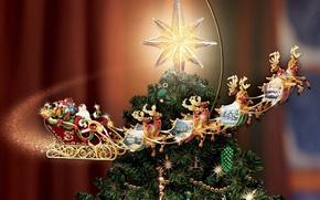 Picture star, tree, New year, sleigh, deer, Thomas Kinkade