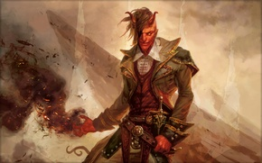 Picture red, magic, smoke, the demon, sparks, hairstyle, evil, horns, demon, red, grin, cool, evil, Magic …