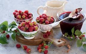 Picture leaves, berries, raspberry, food, spoon, dishes, jam, sweet, jam, Anna Verdina