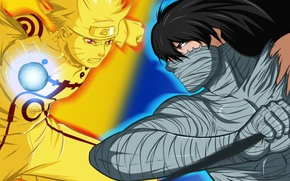 Wallpaper transformation, crossover, short hair, rasengan, black hair, red eyes, fight, man, uzumaki, shinigami, substitute, tensa ...