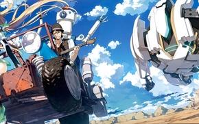 Wallpaper machine, the sky, clouds, smile, robot, chase, anime, art, guy, kantoku, angela balzac. girl, expelled ...