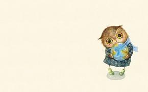 Picture mood, owl, art, the globe, care, children's, sovushka, Inga Paltser, Inga, Pelzer