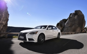Picture Road, White, Lexus, Machine, Shadow, Day, Sedan, Blik, In Motion, LS-EU