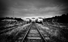 Picture rails, black and white, trains, W/e way