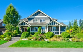 Picture road, the sky, grass, the sun, trees, design, house, lawn, blue, the sidewalk, mansion, the …