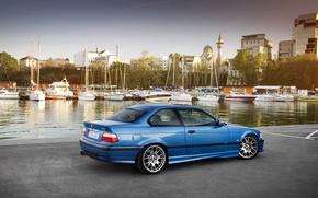 Picture car, auto, BMW, yachts, promenade, bmw m3, E36, auto wallpaper