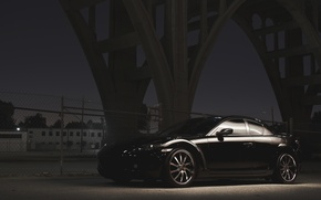 Picture Bridge, Night, Street, Mazda, Black, Mazda, Black, RX-8, RX8