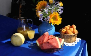 Picture vase, flowers, watermelon, table, bouquet, juice, melon, apricots, still life, pitcher
