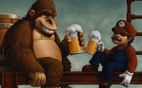 Picture beer, barrel, Mario, Donkey Kong