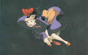 Picture drops, flight, night, rain, bag, broom, black cat, art, Kiki's delivery service, jiji, hayao Miyazaki, …