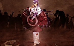 Picture zombies, kimono, highschool of the dead, busujima saeko
