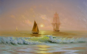 Picture beauty, wave, picture, ship, painting, dawn, Crimea, sea, boats, Miliukov Alexander, the sun, sail