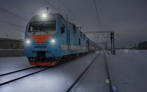 Picture winter, night, lights, Train