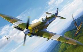Picture war, art, airplane, painting, aviation, ww2, Spitfire Mk.VIII