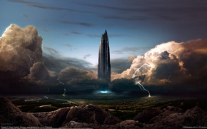 Picture the city, fiction, the building, tower, CG wallpapers, Tobias Roetsch