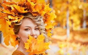 Picture autumn, foliage, Girl