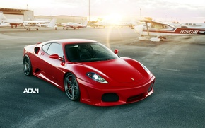 Wallpaper sunset, red, tuning, supercar, ferrari, Ferrari, the airfield, f430, tuning, the front, aircraft, F430, adv.1