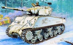Picture winter, war, figure, art, Sherman, 76 mm, M4A3
