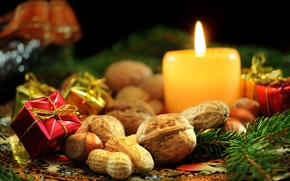 Wallpaper focus, flame, nuts, needles, candles, decoration