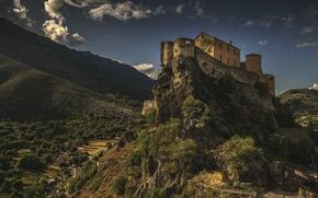 Picture road, the sky, clouds, mountains, castle, valley, village