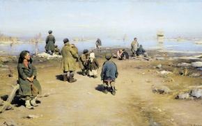 Picture oil, canvas, 70х136 cm, The ice has gone. 1895, (1862 — 1930), Arkhipov Abram