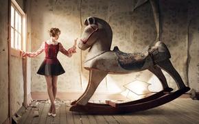 Wallpaper model, swing, dress, VVV, Alison Brie, Alison Brie, hairstyle, Robert Ascroft, actress, horse, figure