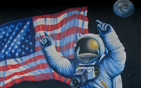 Picture space, figure, picture, NASA, astronaut, USA flag