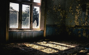Picture light, room, window, devastation, abandonment, the room, mold