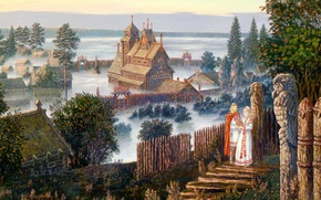 Picture summer, fog, woman, home, hill, male, art, wooden, Vsevolod Ivanov, Russian folklore, Vedic temple, towering …