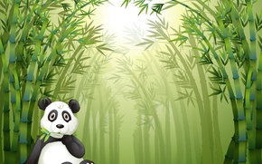 Picture sprig, stay, bamboo forest, little Panda