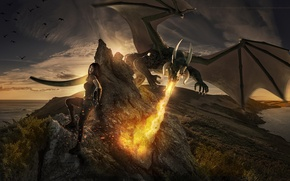 Picture girl, fiction, dragon