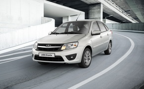 Picture grey, car, Lada, premiere, hatchback, Lada, Granta, Grant, Vaz, AVTOVAZ, best seller, liftback