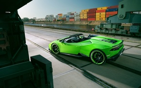 Picture car, the sky, green, Lamborghini, port, car, Spyder, containers, port, Novitec, Torado, Huracan
