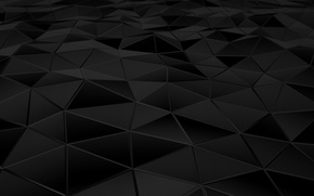 Picture surface, abstraction, triangles, faces, black, render