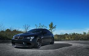 Picture asphalt, black, bmw, BMW, coupe, shadow, Matt, e92, matte black
