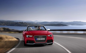 Wallpaper Convertible, Lake, Driver, The wind, Water, road, RS5, Day, The buzz, Audi