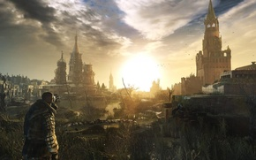 Picture the sun, sunset, dawn, Apocalypse, the Kremlin, gas mask, ruins, stalker, the end of the …