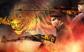 Picture light, tiger, smoke, concept, gold, AK-47, collection, paint, awp, workshop, cs go, tera