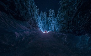 Picture winter, road, machine, forest, the sky, stars, light, snow, night, Bulgaria, By inhiu, Kyustendil