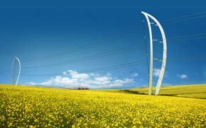 Picture Field, Future, Energy, Power lines, Energy