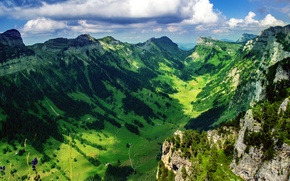 Wallpaper Switzerland, mountains, valley, the sky, The Bernese Alps, Justistal, clouds