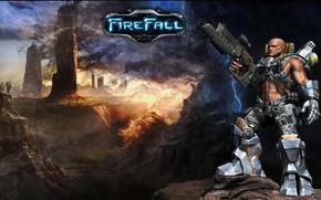 Picture fire, battlefield, flame, girl, gun, rock, game, robot, fighter, soldier, sky, weapon, woman, war, blue, …