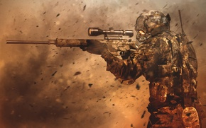 Picture the wind, storm, art, soldiers, sniper, sight, rifle, equipment, optical
