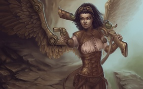 Picture gun, wings, girl, the gun, Steampunk