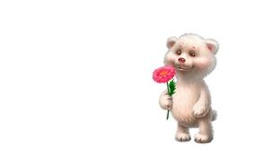 Picture mood, gift, art, bear, flower, children's