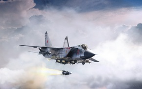Wallpaper clouds, fighter, flight, by ABiator, Alexander Yartsev, The MiG-31B, the beast from the East, Beast ...