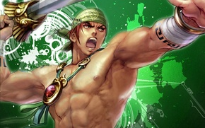 Picture sword, rage, amulet, manga, bandana, torso, green background, muscles, super hero, Sinbad the sailor