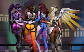 Picture ass, girl, rendering, Tracer, overwatch, Widowmaker, Lena Oxton, Amélie Lacroix, Mercy, D.Va, Hana Song, Angela ...