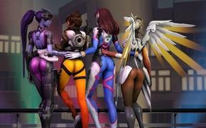 Wallpaper ass, girl, rendering, Tracer, overwatch, Widowmaker, Lena Oxton, Amélie Lacroix, Mercy, D.Va, Hana Song, Angela ...